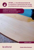 Acondicionamiento de la superficie y operaciones de secado en productos de carpintería y mueble. MAMD0109