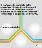 Il trattamento contabile delle operazioni di ristrutturazione e gli aspetti fiscali delle componenti reddituali scaturenti dalle soluzioni concordate in seguito al DL 83/2012 (ebook)